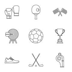 Accessories for training icons set, outline style