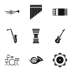 Musical tools icons set, simple style
