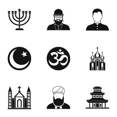 Beliefs icons set, simple style