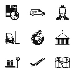 Store icons set, simple style