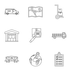 Shipping icons set, outline style