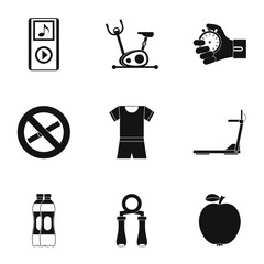 Fitness icons set, simple style