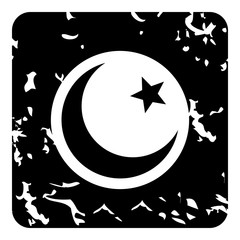 Crescent and star icon, grunge style