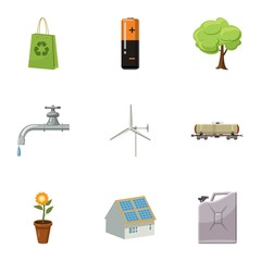 Environment icons set, cartoon style