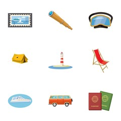 Journey to sea icons set, cartoon style