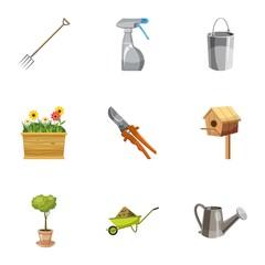 Farming icons set, cartoon style