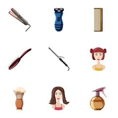 Barber icons set, cartoon style