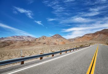 Mountain desert road, travel concept, USA