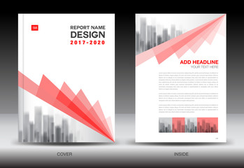 Annual report brochure flyer template, Red cover design, business, book, booklet, newspaper, vector