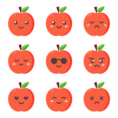 Set, collection of flat design emoji red apples isolated on white background.