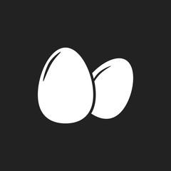 Egg Icon. Flat vector illustration on black background