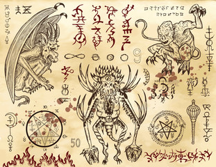 Demon collection with mystic and occult symbols. Graphic vector illustration. Engraved line art drawings
