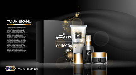 Digital vector white matte skin care cream and lotion cosmetic container set mockup collection, your brand package, ready for print ads or magazine design. Transparent and shine, realistic 3d style