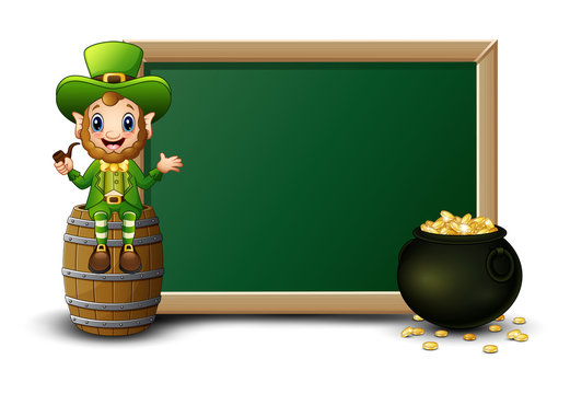 Cartoon leprechaun sitting above barrel with chalkboard and pot of gold coins