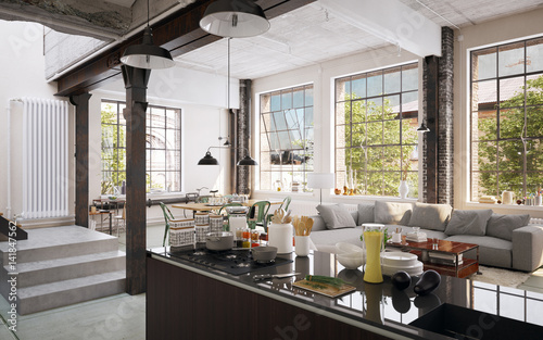 Kitchen in luxury industrial factory Loft - Küche in Luxus industrie ...