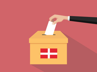denmark vote election concept illustration with people voter hand gives votes insert to boxes election with long shadow flat style