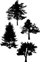 four tree silhouettes illustration on white