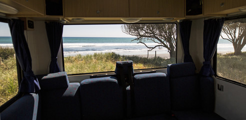 Looking through the window of a camper van, New Zealand