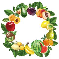 Eco food menu background. hand drawn fruits. Vector illustration