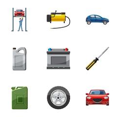 Maintenance car icons set, cartoon style