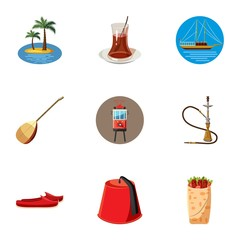 Turkey icons set, cartoon style