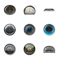 Engine speedometer icons set, cartoon style
