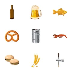 Beer fest icons set, cartoon style