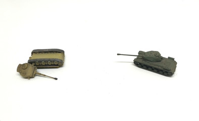 toy tanks isolated on white background