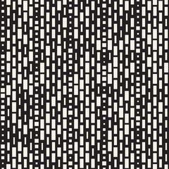 Vector Seamless Black And White Irregular Dash Rectangles Grid Pattern. Trendy Monochrome Texture.