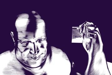 Drug dealer illustration holding an amphetamine parcelon violet background can be printed on t-shirt