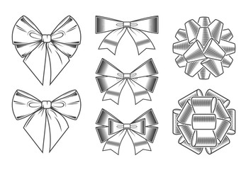 Bows icons set