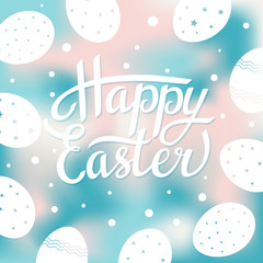 Easter greeting card with white eggs on blurred background. Vector illustration