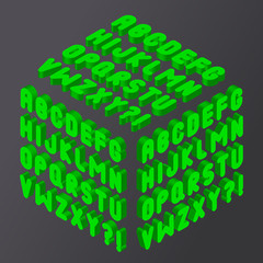 Green bubble 3d font. Vector alphabet isolated on black background
