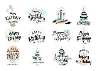 Vector illustration of Happy Birthday badge set