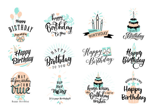 Vector illustration of Happy Birthday badge set