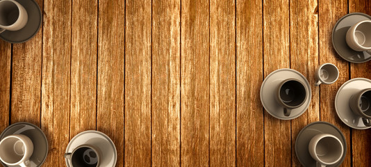 3d rendering of coffee cups on wooden background