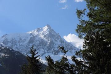 view of an alpine mountain landscape near Mont Blanc, Chamonix, Switzerland