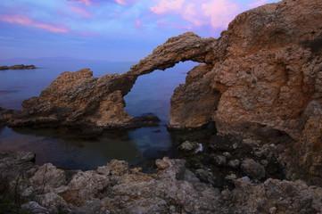 View of the Costa Brava on the beach of Portixol, near the village of L`Escala.Girona, Spain