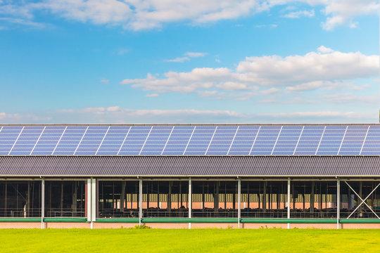 Solar panels on a new farm barn