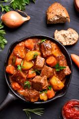 Ragout, goulash in frying pan