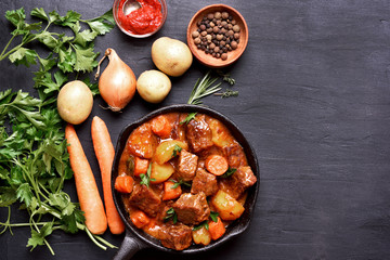 Beef stew, top view