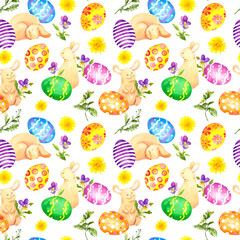 Easter bunny, colored eggs, flowers. Seamless pattern. Watercolor