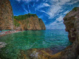 Sea cliffs bay. Oil painting.