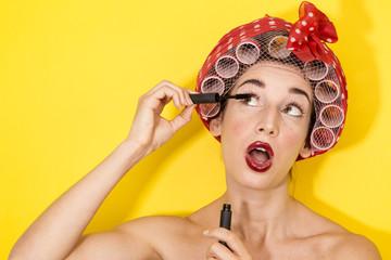 funny housewife applying makeup