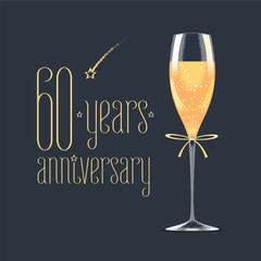 60 years anniversary vector icon, logo