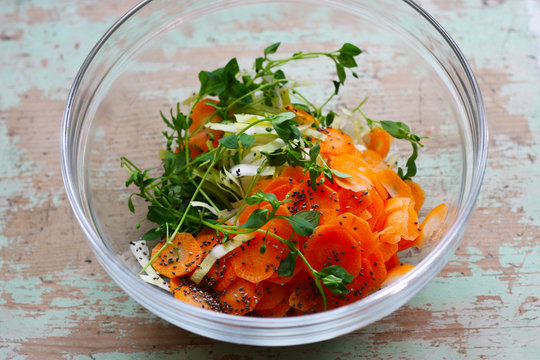 Vogelmiere (Stellaria media), Chicorée, Möhre, Chiasamen - Frischer Salat im Frühjahr, vegane und pflanzliche Ernährung gut für die Gesundheit