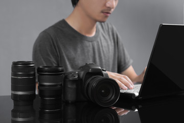 photographer editing the image on workplace