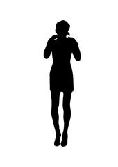 Silhouette of girl bending hands vector