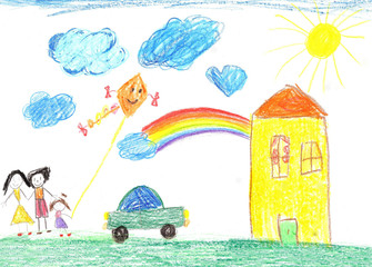 Child's drawing happy family, house, car