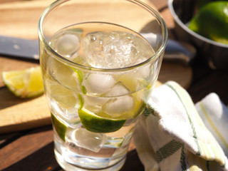 Cold water with lime fruits